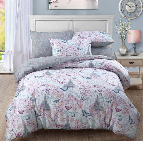 Romantic paris blossom butterfly duvet cover set