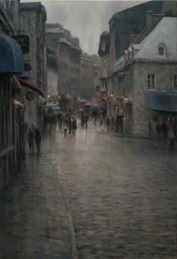 Rue St Paul sous la pluie 36x24