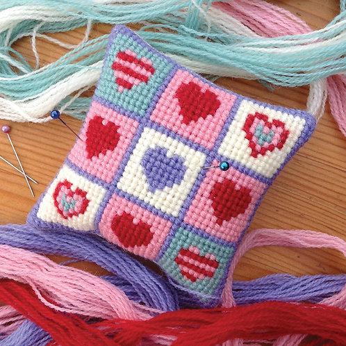 N01 Patchwork Hearts Pincushion