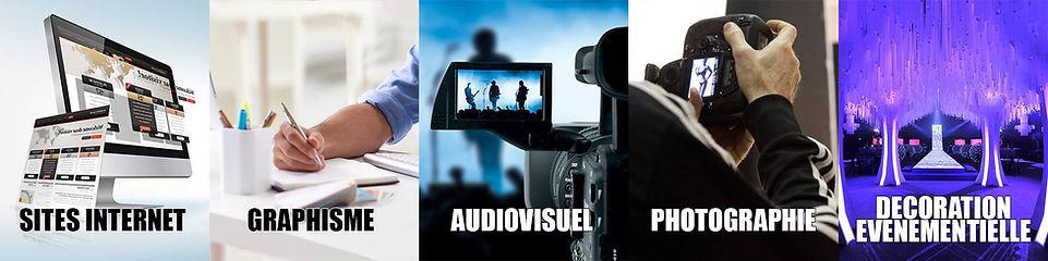 Communication : sites internet, graphisme, audiovisuel, photographie, décoration événement