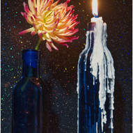 Chrysanthemum With Bluebottles by Gordon Stewart