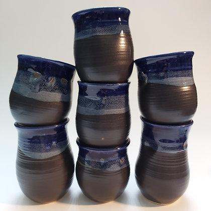 Blue handle less thumbprint mugs