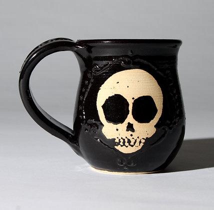 Slip Trailed Skull Mug