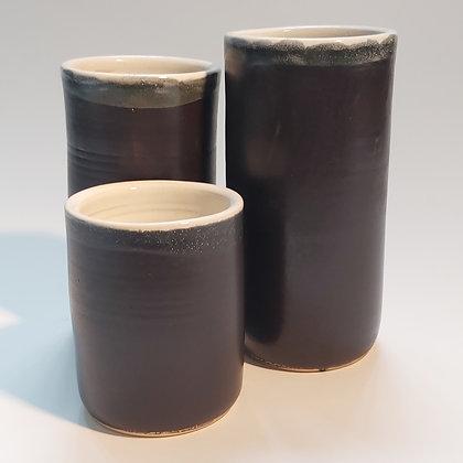 Mat black and white vase
