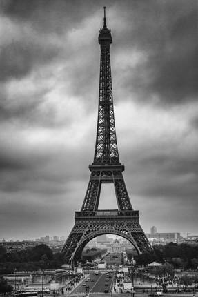 A stormy Eiffel Tower