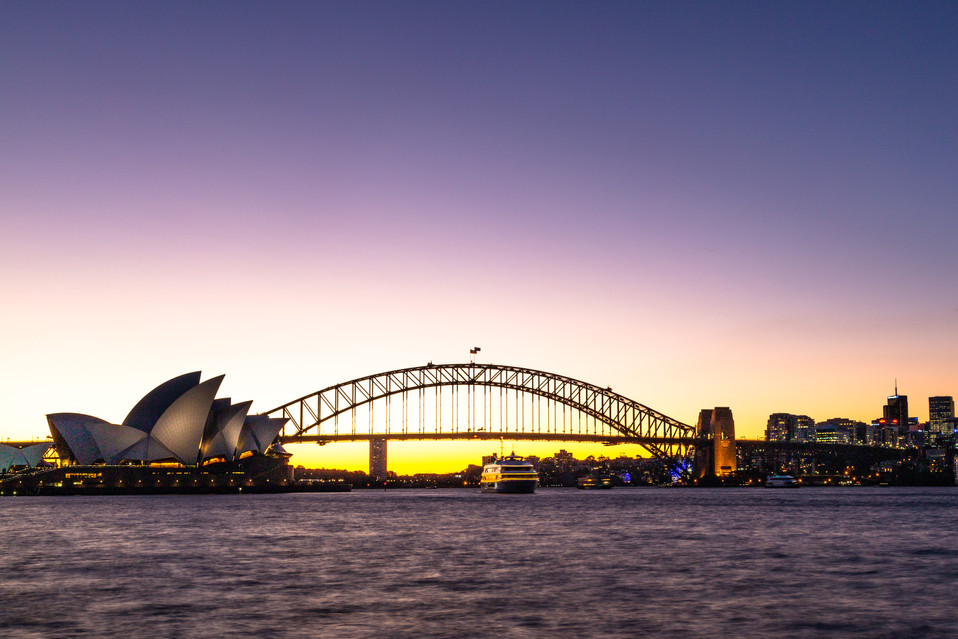 Iconic Manly ferry on Sydney Harbour at sunset