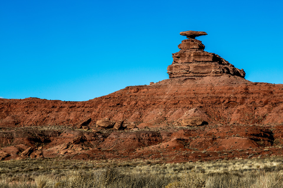 Mexican hat is just outside of Monument Valley