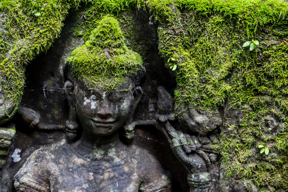 Moss covered carving
