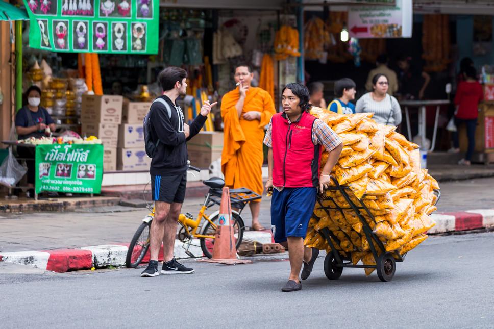 Busy market street, Bangkok