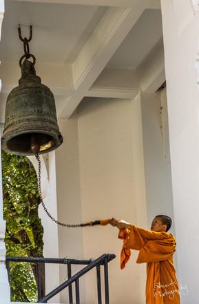 Bell ringing monk, Chiang Mai