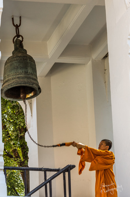 Bell ringing monk, Chiang Mai