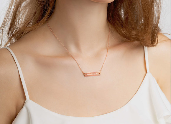 Engraved ASR Necklace | Rose Gold Silver Bar Chain