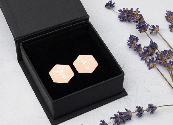 Lily Sterling Silver Hexagon Stud Earrings