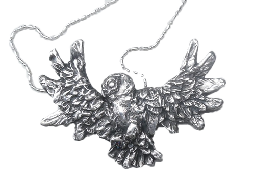 Custom Silver Owl in Flight