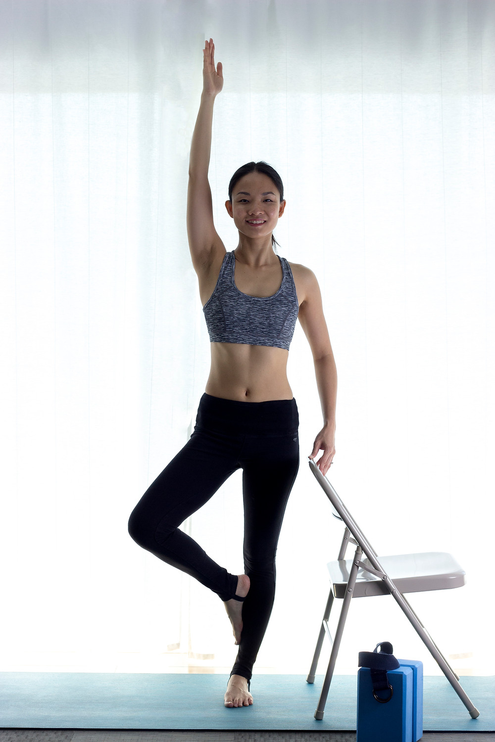 Vrksasana (Tree Pose) with the Chair for Balance