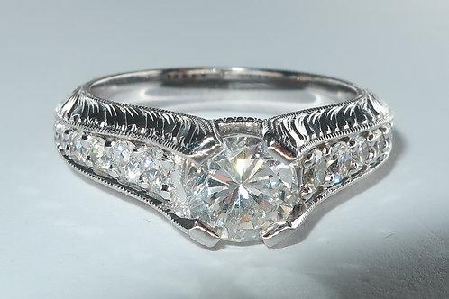 Edwardian Style 14 Karat White Gold Diamond Engagement Ring. 1.35cttw
