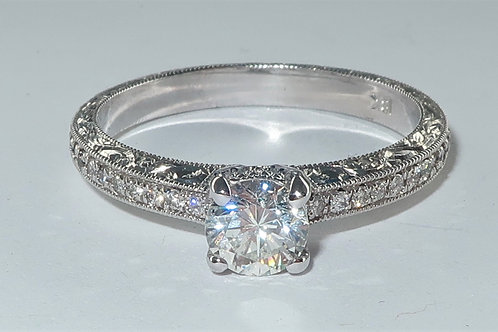 Art Deco Style 18 Karat White Gold Diamond Engagement Ring 0.75carat total weigh