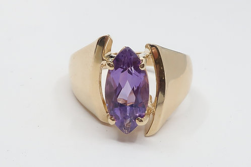 Retro Style 14K Yellow Gold Marquise Amethyst Ring