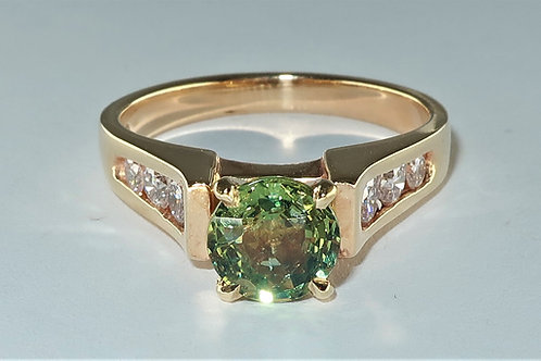 Ladies Green Sapphire And Diamond Ring