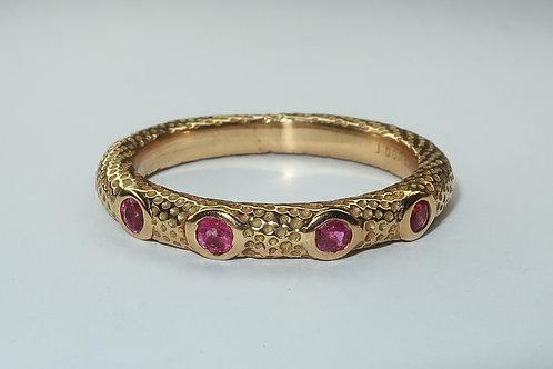 18 Karat Yellow Gold Bezel Set Ruby Ring