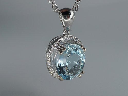 Aquamarine and Diamond Pendent