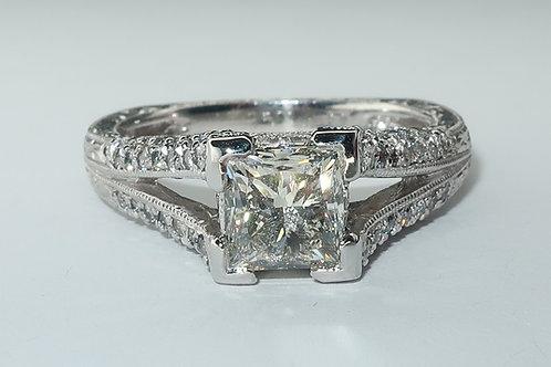 Art-Deco Style Platinum Diamond Engagement Ring. 1.80cttw