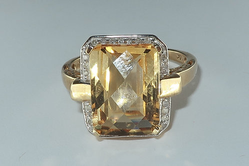 14 x 10mm Cushion-Cut Citrine and Diamond Accent Frame Ring in 10K Gold