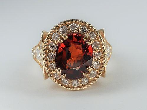 Art-Deco Style 14 karat yellow gold Spessartite Garnet and Diamond Ring