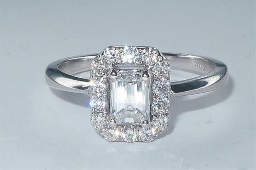 Art Deco Style Halo Design Diamond Engagement Ring