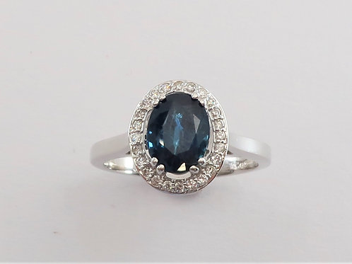 Ladies Halo Design Sapphire  and Diamond Ring