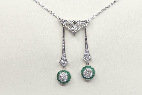 Estate 1920 s Art Deco Diamond and Emerald Negligee Necklace. Unique design