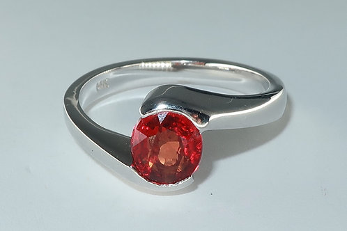 Ladies 1.02ct Solitaire Red Sapphire Ring