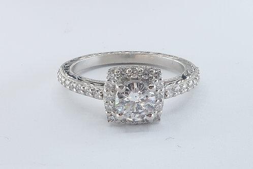 1.00cttw Art-deco Style Platinum Diamond Engagement Ring.