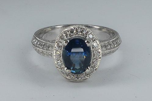 Art-Deco Style Platinum Sapphire Diamond Engagement Ring