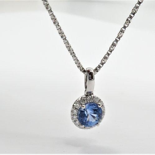 14Karat White Gold  Sapphire and Diamond Pendent.