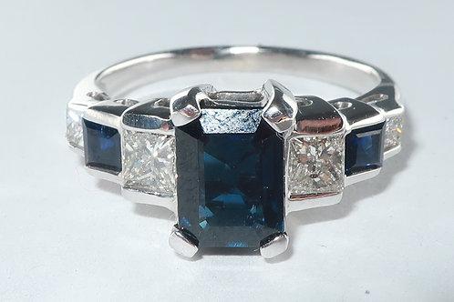 Art Deco Diamond and Sapphire Ring, 14 Karat White Gold