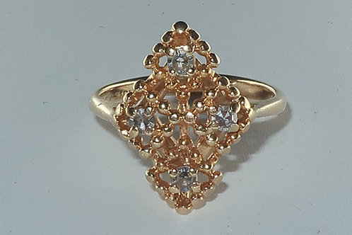 Victorian Style Ring, 14kt Yellow Gold Diamond Ring