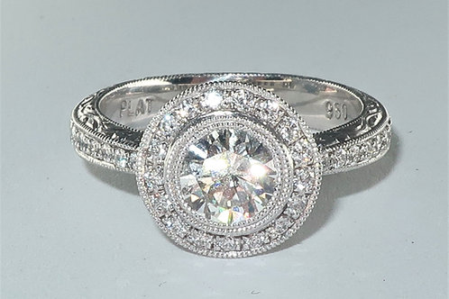 Art-Deco Style Platinum Diamond Engagement Ring. 1.30ct