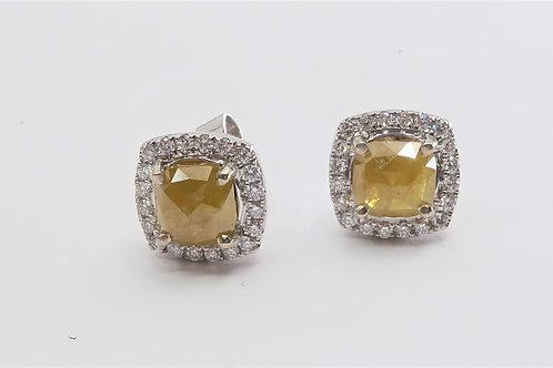 Halo Design Natural Rough Uncut diamond  Earrings. 2.33cttw