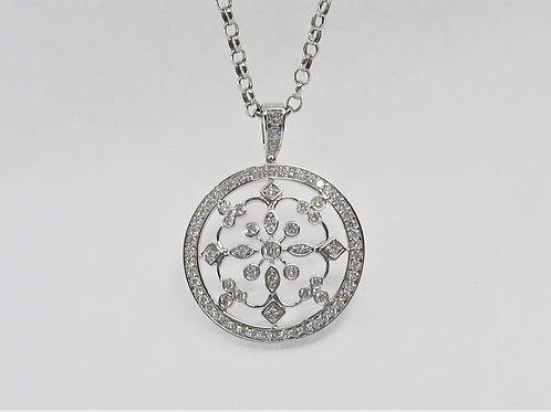 Art-deco Inspired 0.80cttw Diamond Ornate Floral Pendant in 14karat white gold