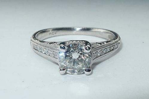 Art-Deco Style Platinum Diamond Engagement Ring. 1.30ct