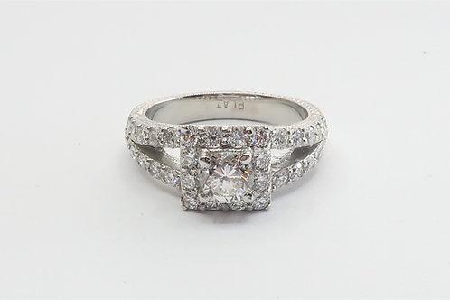 1.50cttw Art-Deco Style Platinum Diamond Engagement Ring