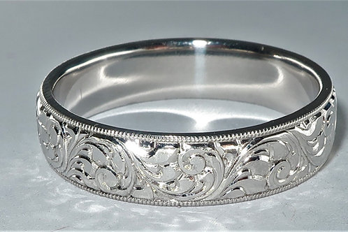 Art Deco Style Hand Engrave Platinum Men Wedding Band