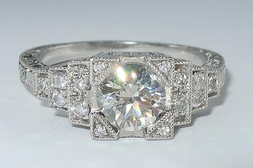 Art-Deco Style Platinum Diamond Engagement Ring. 1.00cttw