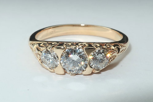 Art Deco Style 3 Diamond Ladies Engagement/Wedding/Anniversary Ring