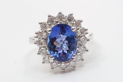 Ladies Halo Design Diamond and Tanzanite Ring