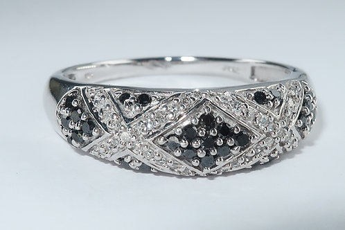 Ladies Art Deco Style Black and White Diamond Band, 10k White Gold