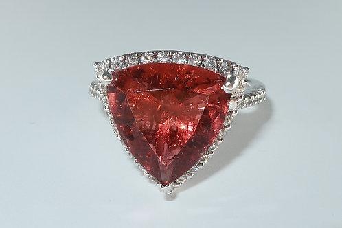 Ladies Halo Design Tourmaline and Diamonds Ring