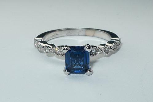 Victorian Style 14Karat White Gold Sapphire & Diamond Ring