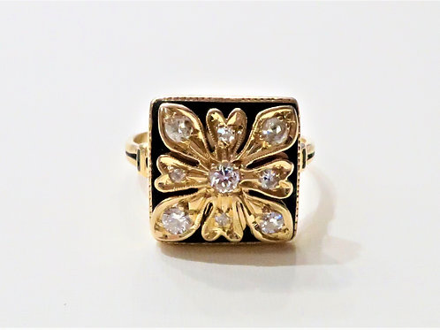 Art Nouveau 14k Diamond and Black Enamel 18k Gold Diamond Ring